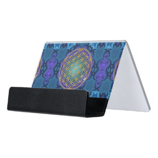 Flower Of Life - gold - fractal 1 Desk Business Card Holder