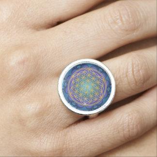 Flower Of Life - gold - fractal 1 Photo Ring