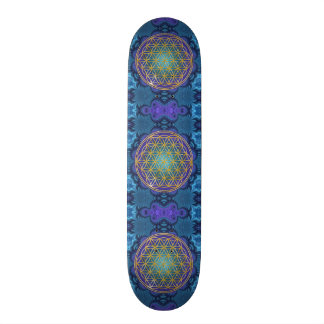 Flower Of Life - gold - fractal 1 Skateboard