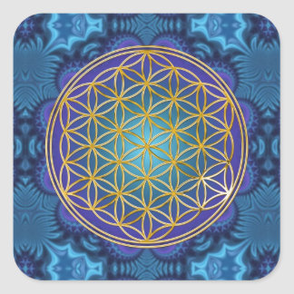 Flower Of Life - gold - fractal 1 Square Sticker