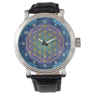 Flower Of Life - gold - fractal 1 Wrist Watch