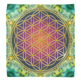 Flower Of Life - gold - fractal 2 Bandana