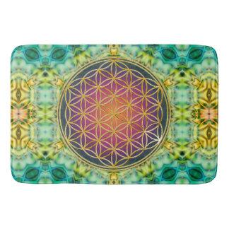 Flower Of Life - gold - fractal 2 Bathroom Mat