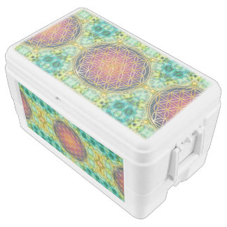 Flower Of Life - gold - fractal 2 Ice Chest