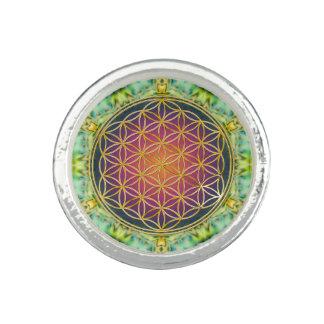 Flower Of Life - gold - fractal 2 Rings