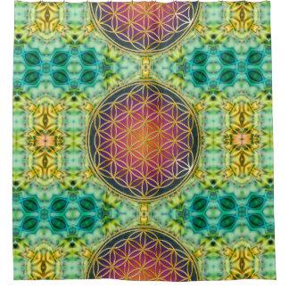 Flower Of Life - gold - fractal 2 Shower Curtain