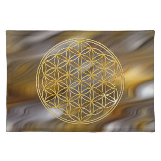 FLOWER OF LIFE - gold + golden waves Placemat