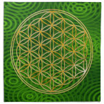 FLOWER OF LIFE - gold + green rings Cloth Napkin
