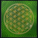 "FLOWER OF LIFE - gold   green rings Cloth Napkin<br><div class=""desc"">Spiritual Symbol ART by EDDA Fr&#246;hlich 