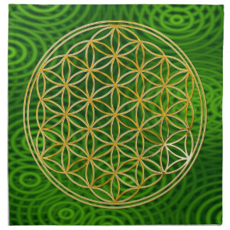 FLOWER OF LIFE - gold + green rings Printed Napkin