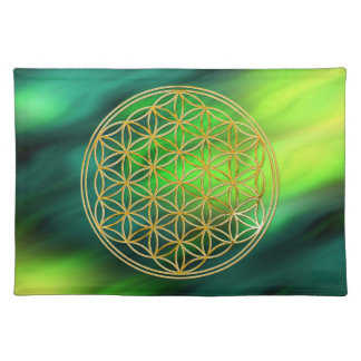 FLOWER OF LIFE - gold + green waves Placemat