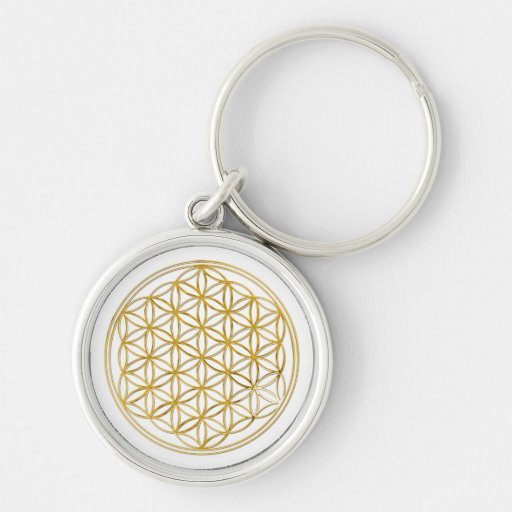 FLOWER OF LIFE - gold Silver-Colored Round Keychain