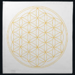 "Flower of Life Gold Line Cloth Napkin<br><div class=""desc"">The flower of Life is used in all religions. It is considered sacred with healing energy within the symbol. Use for your crystal grids,  sacred altars and for your personal use. Use your intuition to use the design for your particular intention or prayer.</div>"