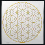 "Flower of Life Gold Line Napkin<br><div class=""desc"">The flower of Life is used in all religions. It is considered sacred with healing energy within the symbol. Use for your crystal grids,  sacred altars and for your personal use. Use your intuition to use the design for your particular intention or prayer.</div>"