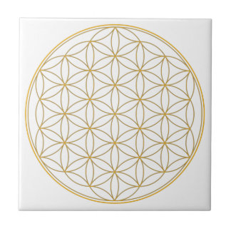 Flower of Life Gold Line Small Square Tile