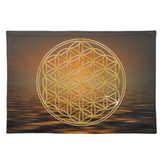 FLOWER OF LIFE - gold + ocean sunrise Placemat