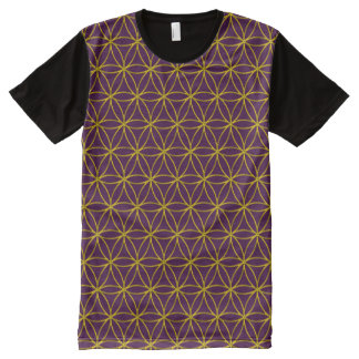Flower of Life - gold pattern + your backgr. All-Over Print T-shirt