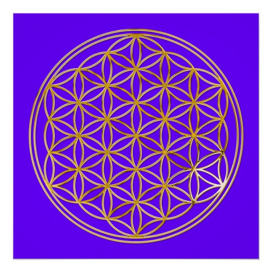 FLOWER OF LIFE - gold Poster