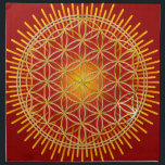 "FLOWER OF LIFE - gold   radiating Napkin<br><div class=""desc"">Spiritual Symbol ART by EDDA Fr&#246;hlich 