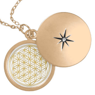 FLOWER OF LIFE - gold Round Locket Necklace
