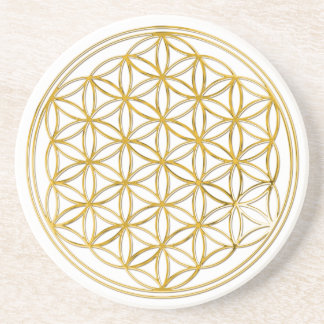 FLOWER OF LIFE - gold Sandstone Coaster
