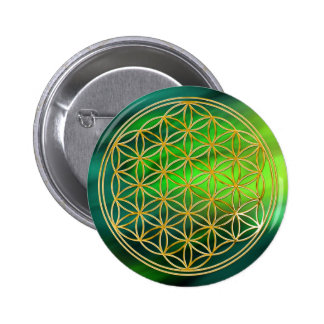 Flower Of Life | gold, small 2 Inch Round Button