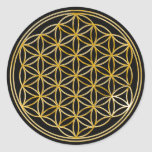 Flower Of Life | gold, small | black Classic Round Sticker