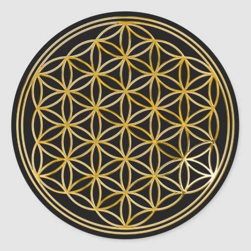 Flower Of Life | gold, small | black Stickers