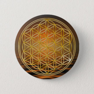 Flower Of Life   gold, small Button