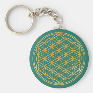 Flower Of Life | gold, small Basic Round Button Keychain