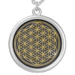 Flower Of Life   gold, small Round Pendant Necklace