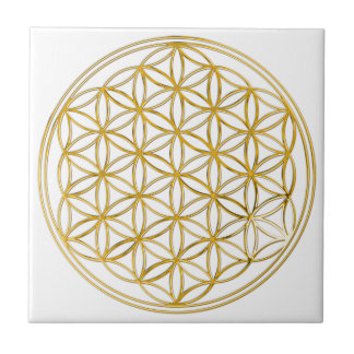 FLOWER OF LIFE - gold Small Square Tile