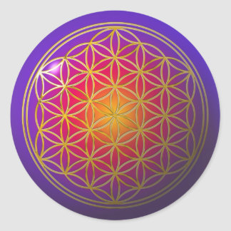Flower Of Life / gold violet Classic Round Sticker
