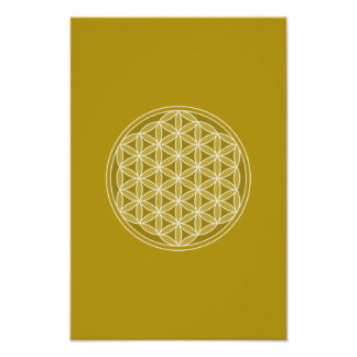 Flower of Life – Golds & White Poster