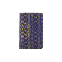 Flower of Life - grid pattern gold silver Pocket Moleskine Notebook