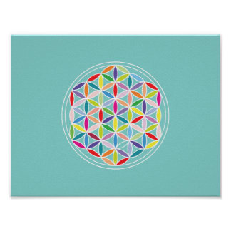 Flower of Life (Horizontal)– Multicoloured on Blue Poster