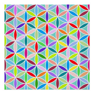 Flower of Life Large Pattern – Multicoloured Posters