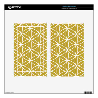 Flower of Life Large Pattern – White on Gold Decals For Kindle Fire