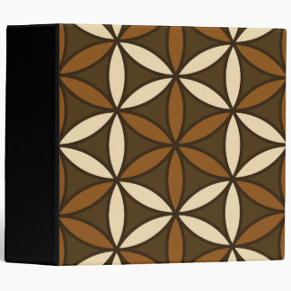 Flower of Life Large Ptn Browns & Cream 3 Ring Binder