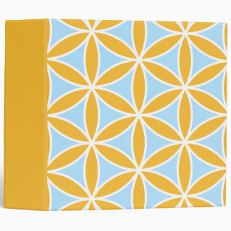 Flower of Life Large Ptn Orange White & Blue 3 Ring Binder