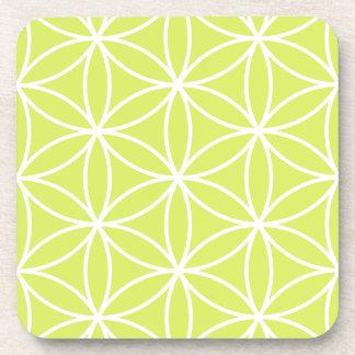 Flower of Life Large Ptn White on Lime Drink Coaster