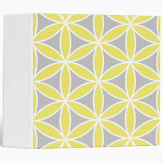 Flower of Life Large Ptn Yellow Grey White 3 Ring Binder