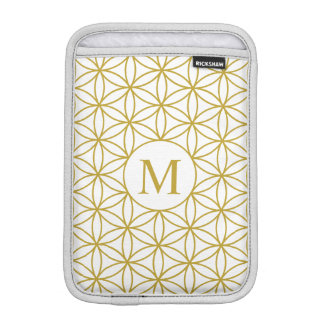 Flower of Life Lg Ptn (Personalised) Gold on White Sleeve For iPad Mini