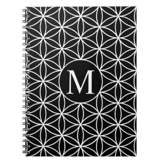 Flower of Life Lg Ptn (Personalised) White on Blk Notebook
