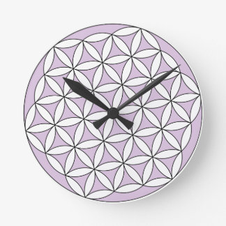 Flower of Life Lilac Round Wallclock