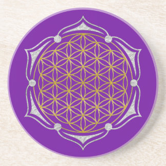 Flower Of Life - Lotus gold silver Coaster