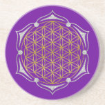 Flower Of Life - Lotus gold silver Drink Coaster