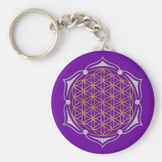 Flower Of Life - Lotus gold silver Basic Round Button Keychain