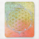 Flower Of Life - Lotus gold silver Mouse Pad