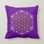 Flower Of Life - Lotus gold silver Pillow